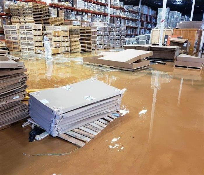 Flooded warehouse due to heavy rains